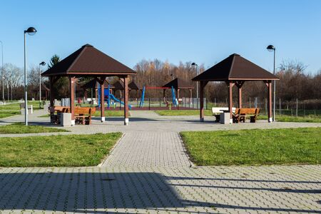 Parking with places to play and relax. Stock fotó - 134802599