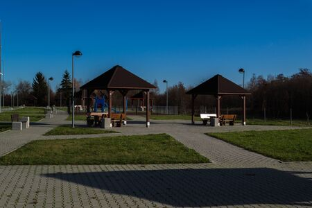 Parking with places to play and relax. Stock fotó - 134802602