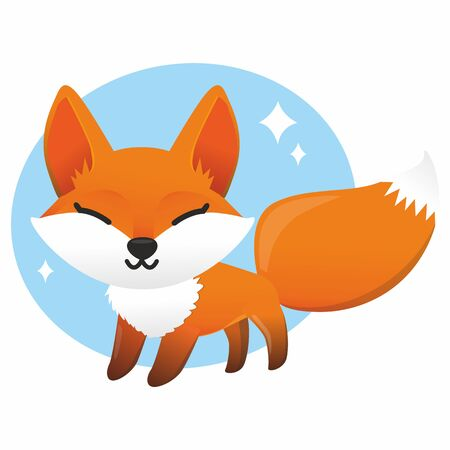 Fox colored illustration on white background