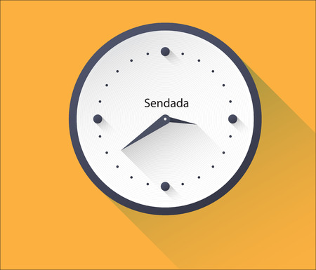 Clock icon with long shadow. Illustration
