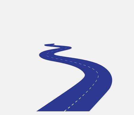 Carretera, carretera sinuosa, horizonte de carretera sinuosa, mapa de carreteras largo. Conjunto de bobinados de hoja de ruta azul. Ilustración vectorial