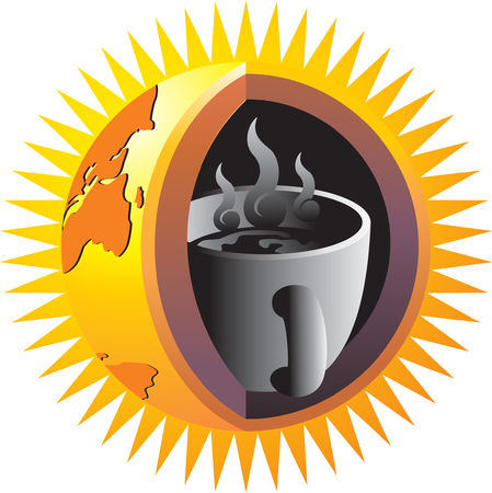 erupt: A cup of coffee in the nucleus of the earth, symbolizing the influence of coffee around the world Illustration