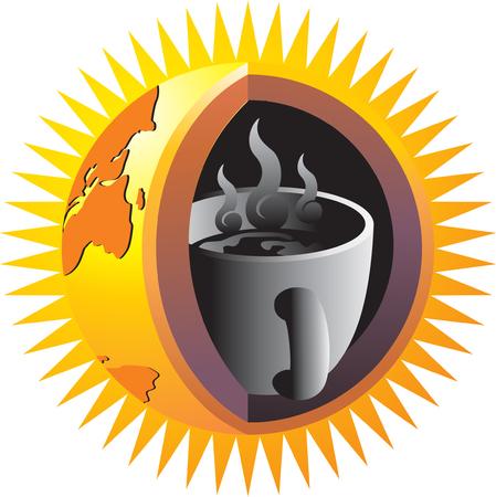 ausbrechen: Eine Tasse Kaffee in der Kern der Erde, symbolisiert den Einfluss von Kaffee auf der ganzen Welt Illustration