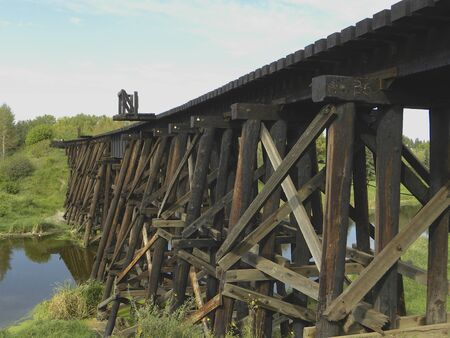 trestle: railway wooden trestle Stock Photo