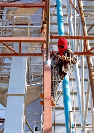 workers welded steel structures  photo