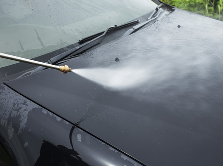 pressured: car washing cleaning with foam and hi pressured water