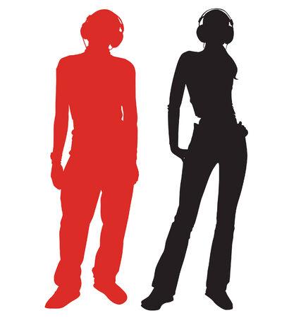 Siluetas del chico y la niña en auriculares Ilustración de vector