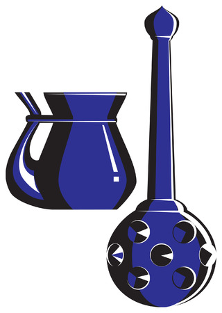 decanter: Ceramic decanter and cup in black-dark blue tones. Old style. Illustration