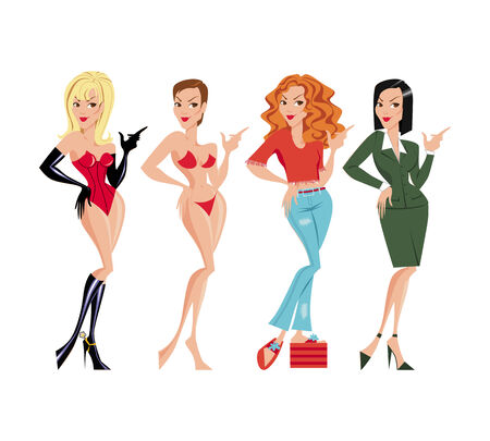 jeans skirt: The girls in various dresses and wigs
