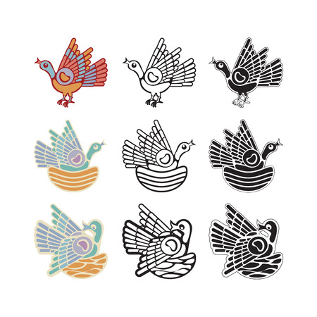 Three birds in ornamental folk style Stock Vector - 8471086