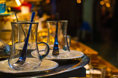 turkish style tea glasses on the stand in Grand Bazaar Stock Photo