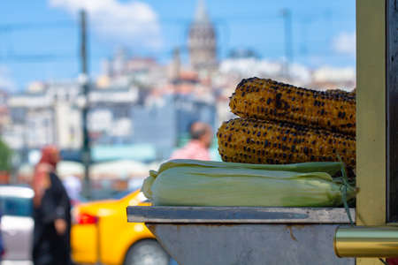 Grilled corn on the stand in Istanbul Stok Fotoğraf