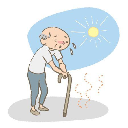 An old man's walk in the blazing sun