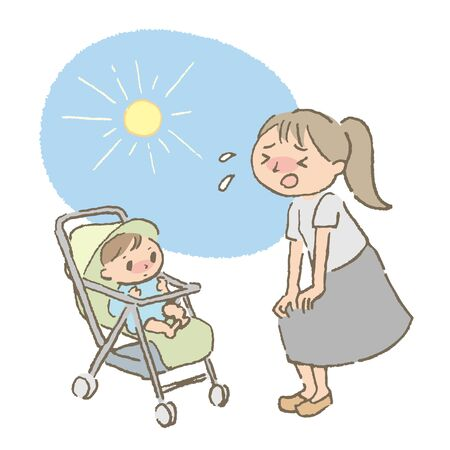 Mom and Baby with Stroller in Summer (color) 일러스트