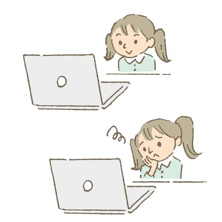 A child who is suitable for online classes or not (color)