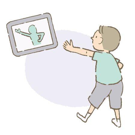 Children imitating videos (color) Ilustración de vector