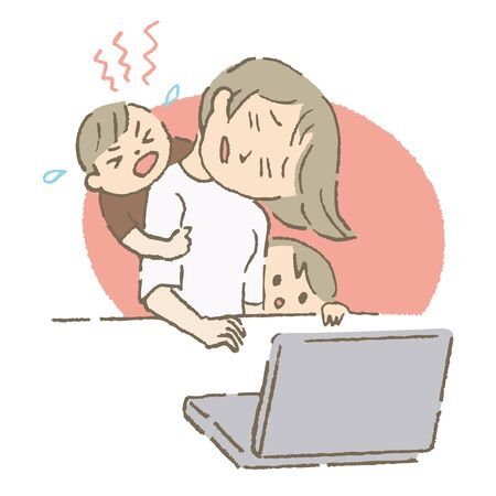 Telecommuting Mother (color)