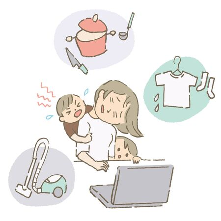 Telecommuting Mother with Housework (color) Vektorové ilustrace