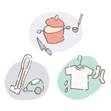 Housework - Cleaning, Laundry, Cooking (Color) 向量圖像