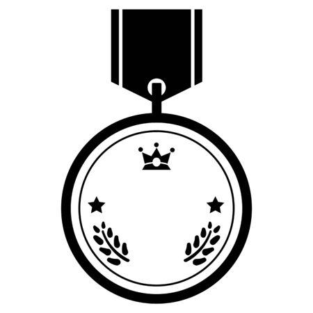 Simple medal copy space (monochrome)  イラスト・ベクター素材