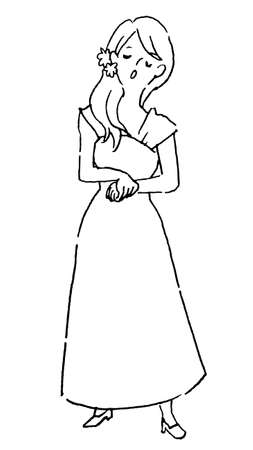 A woman in a dress who stands and sings (line drawing)
