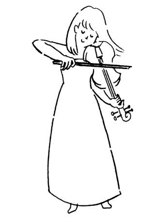 Woman in dress plays the violin (line drawing)