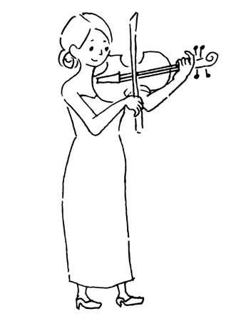Woman 2 (line art) in a dress playing the violin Vecteurs