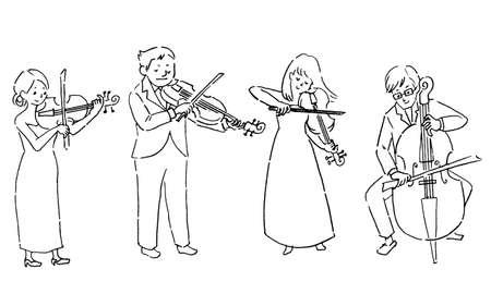 String Quartet Quartet (Line Art)