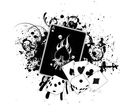 ace of diamonds: Casino Splatter Illustration
