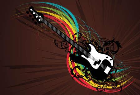 Rainbow Guitar Grunge Vector