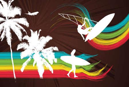 Rainbow Surfers Vector