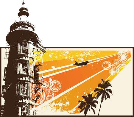 urban life:  Orange Grunge Retro City Illustration