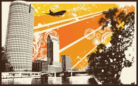 sea pollution: Orange Retro City Illustration