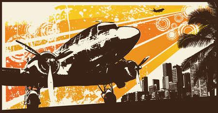 Orange Retro Propeller Bomber Vector Illustration Vector