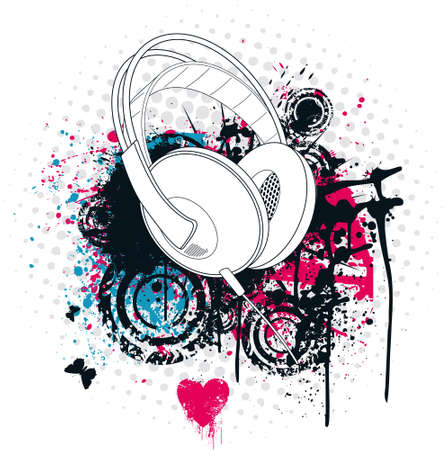 Grunge Headphone Vector