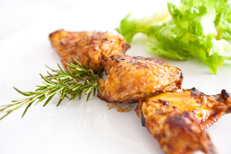 Fried chiken wings isolated on white background Stock Photo