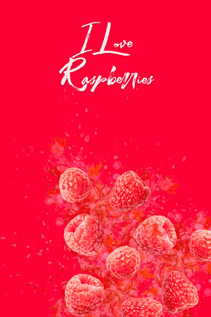 Artfully and lovingly designed photo montage with raspberries and watercolor spraying in the background Stockfoto - 118065190