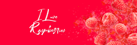 Artfully and lovingly designed photo montage with raspberries and watercolor spraying in the background Banner Stockfoto