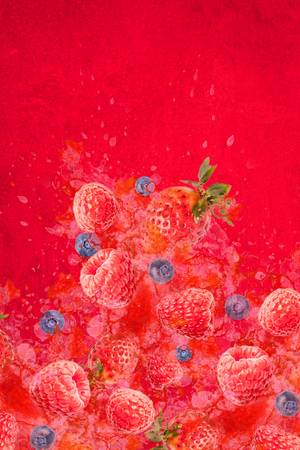 Artfully and lovingly designed photomontage with raspberries, blackberries, strawberries and water splashes in the background Stockfoto - 118065200