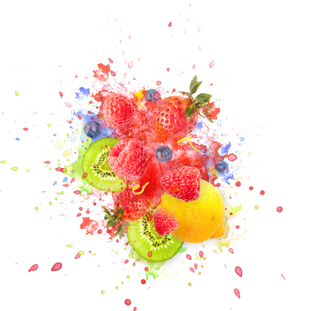 Artfully and lovingly designed fruit explosion with raspberries, blackberries, strawberries, kiwis, lemon and water splashes in the background