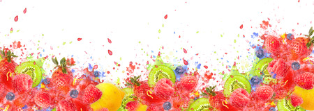 Artfully and lovingly designed fruit explosion banner with raspberries, blackberries, strawberries, kiwis, lemon and water splashes in the background
