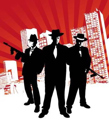 Mafia-Chef mit Maschinengewehr steht vor Skyline einer Stadt mit Designelementen im Hintergrund