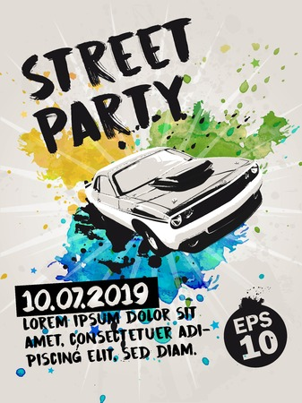 Street party poster with muscle car and transparent watercolor splashes in the background. Vector illustration. 写真素材