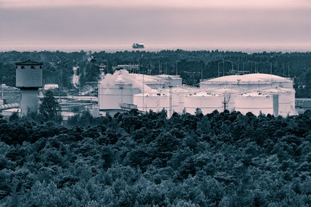 cinematic: Fuel terminal in Riga. Large oil tanks