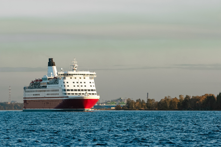 ship bow: Red cruise liner. Passenger ferry sailing from Riga to Stockholm Stock Photo