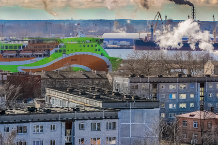 Green cruise liner. Passenger ferry sailing past the Riga city