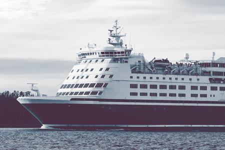 ship bow: Big cruise liners bow. Passenger ferry underway