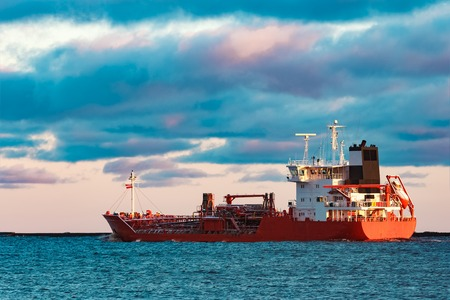 Red cargo oil tanker moving to Baltic sea Stock Photo
