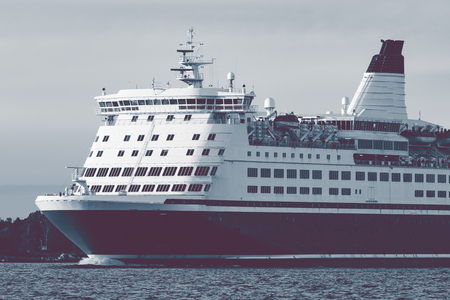 Big cruise liners bow. Passenger ferry underway