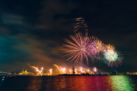 Colored New Year fireworks in centre of Riga